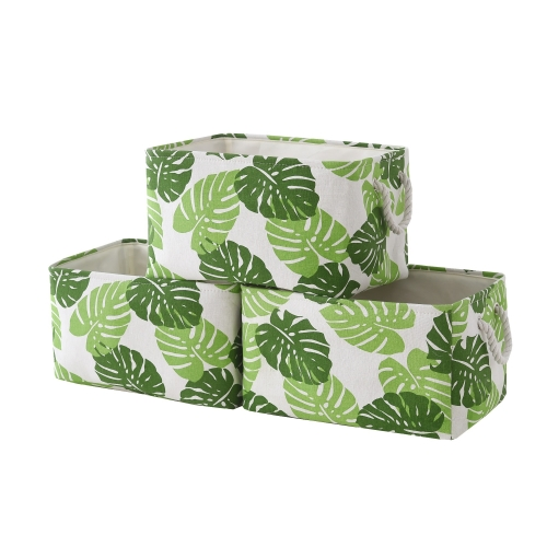 "Banana Leaves - Canvas Storage Bins with Cotton Rope Handles,15.4""(L)*12""(W)*8""(H), 3-Pack, Collapsible, Decorative Basket"