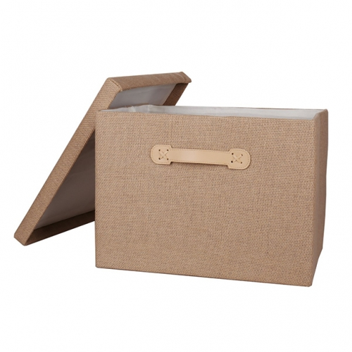 Beige Cardboard Storage Box - Decorative Storage Box with Lid for Office Organizer, Decorative Storage Baskets Organizer Bins with Lids, Empty Gift B