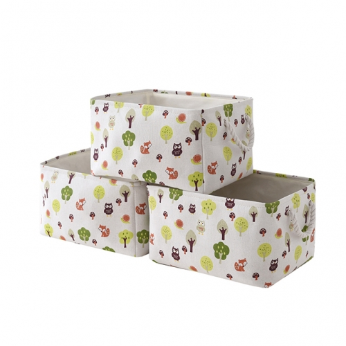 "Tree and Owl - Canvas Storage Bins with Cotton Rope Handles, 15""(L)*11""(W)*9.5""(H), 3-Pack, Collapsible, Decorative Basket"