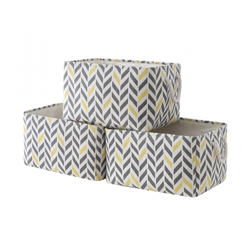 "Gray and Yellow Diamond - Canvas Storage Bins with Cotton Rope Handles, 15.4""(L)*12""(W)*8""(H), 3-Pack, Collapsible, Decorative Basket"