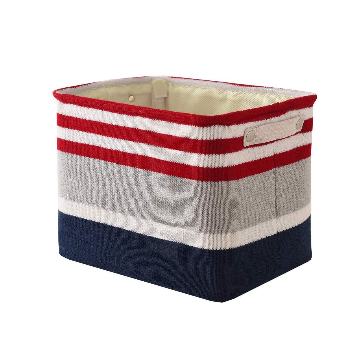 Stripe Decorative Basket Rectangular Fabric Storage Bin Organizer With Handles 16 L 12 W H