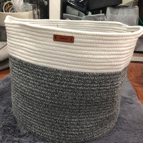 "Samketel Large Cotton Rope Basket 15.8""x15.8""x13.8""-Baby Laundry Basket Woven Blanket Basket Nursery Bin"