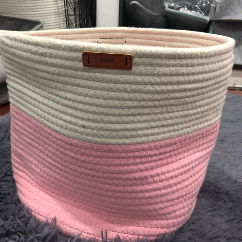 "Afera 3-Toned Cotton Rope Storage Baskets for Laundry and Blankets (Wide (20""x13.3""), Pink/White)"