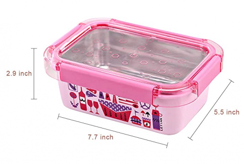 Banhai Stainless Steel Bento Boxes, Leakproof Lunch Boxes for Kids, Adults, Office, School - BPA Free (Rectangle, Pink)
