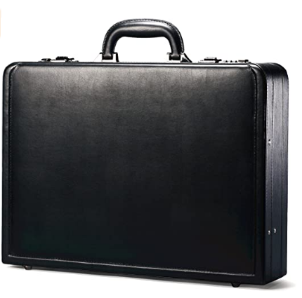 Tyuilmn New York Grand Central Attaché Case Briefcase with Combination Locks, Black